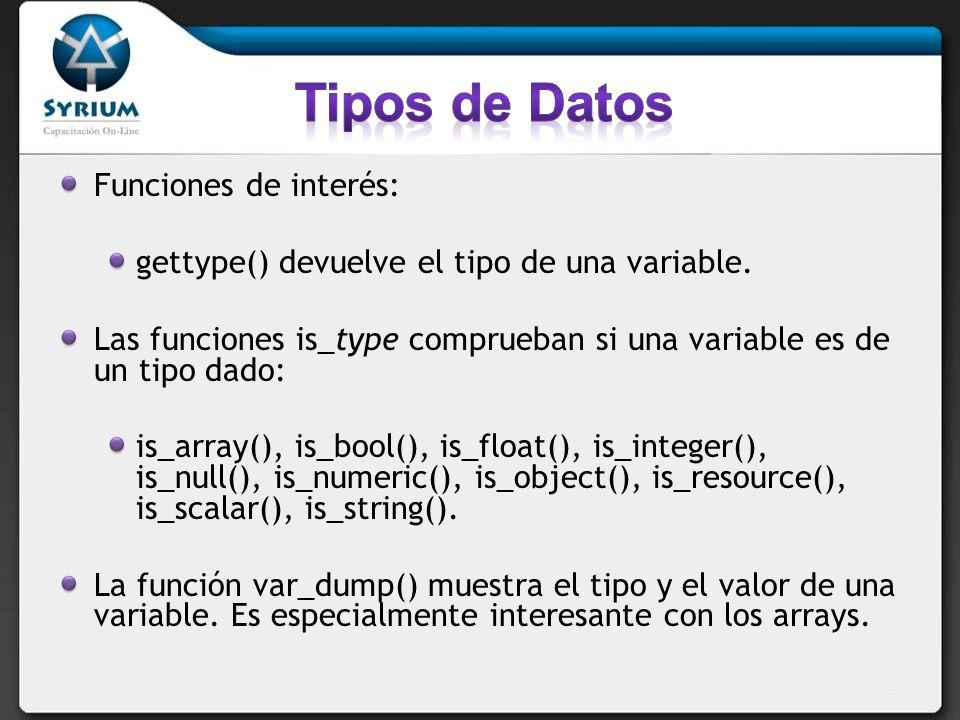 Tipos de Datos Funciones de interés: