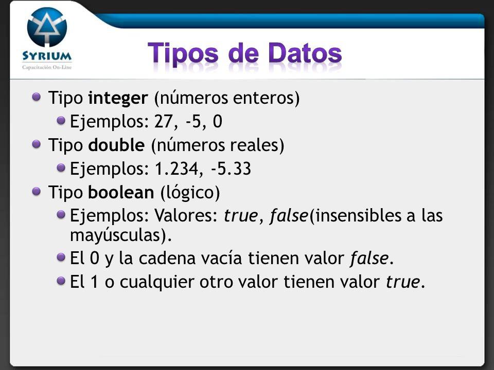 Tipos de Datos Tipo integer (números enteros) Ejemplos: 27, -5, 0