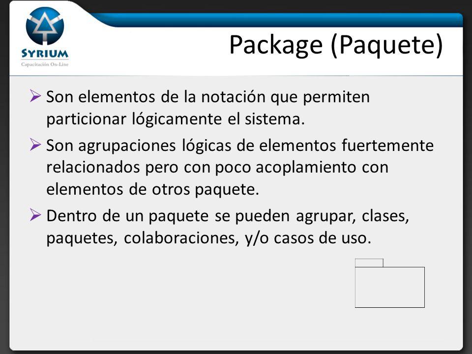 Package (Paquete) Son elementos de la notación que permiten particionar lógicamente el sistema.