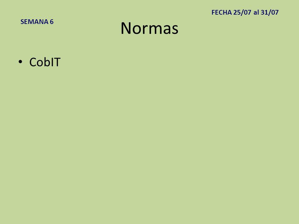 FECHA 25/07 al 31/07 Normas SEMANA 6 CobIT