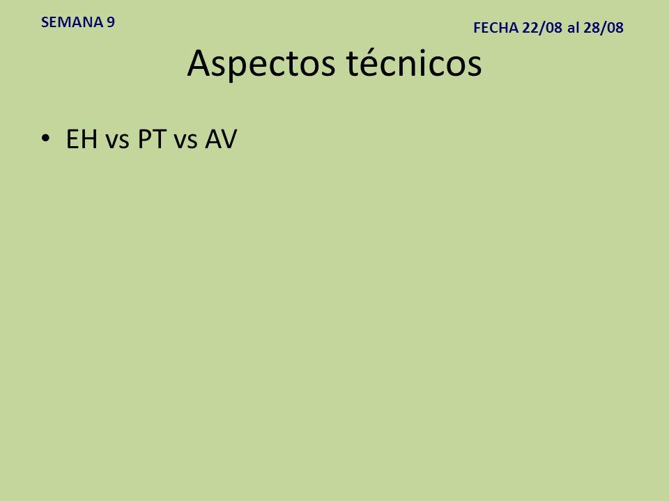 SEMANA 9 FECHA 22/08 al 28/08 Aspectos técnicos EH vs PT vs AV