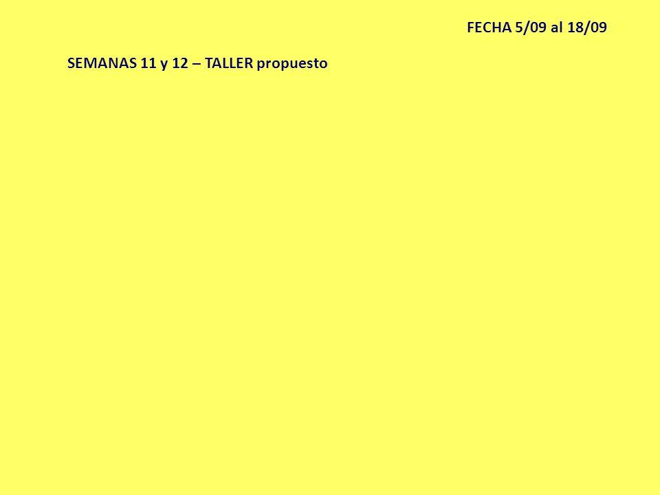 FECHA 5/09 al 18/09 SEMANAS 11 y 12 – TALLER propuesto