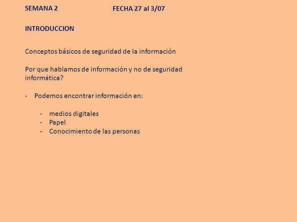 SEMANA 2 FECHA 27 al 3/07. INTRODUCCION. Conceptos básicos de seguridad de la información.