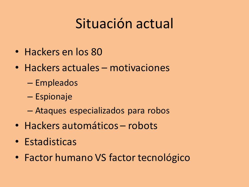 Situación actual Hackers en los 80 Hackers actuales – motivaciones