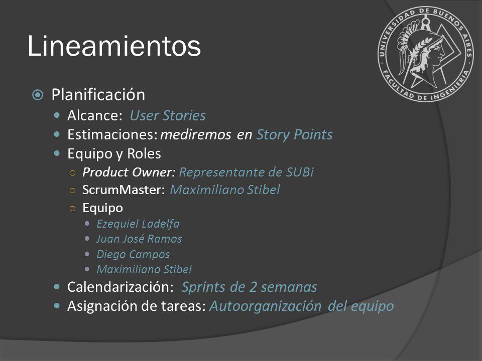 Lineamientos Planificación Alcance: User Stories