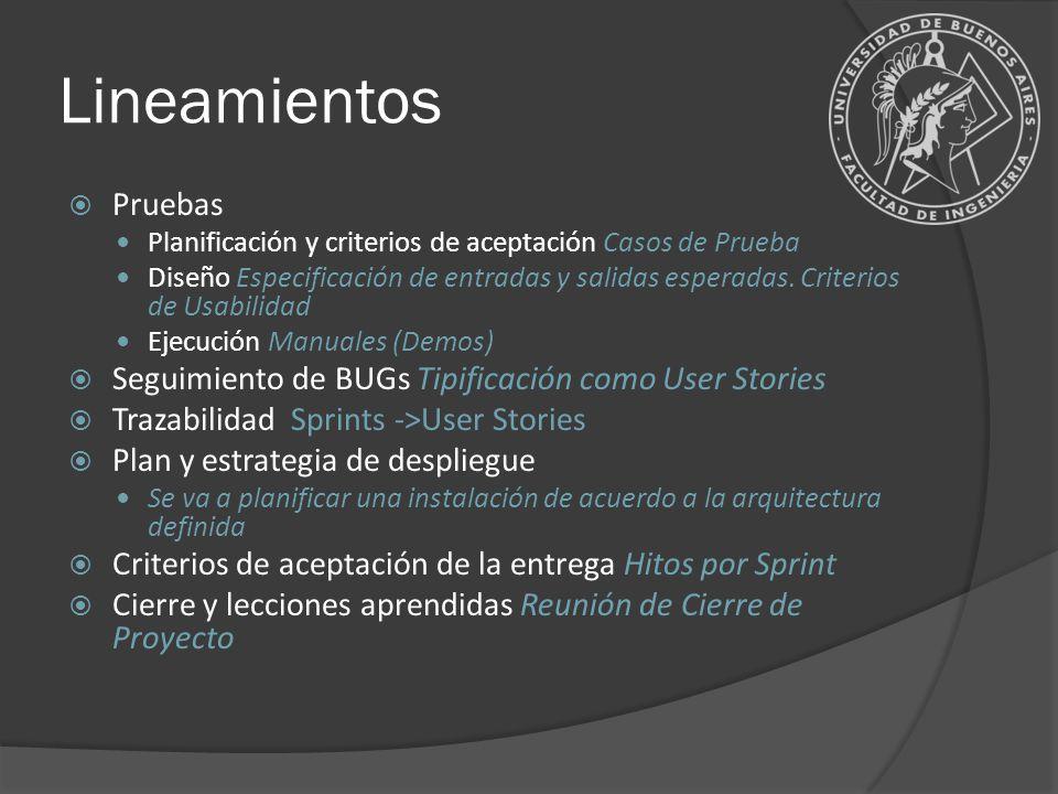 Lineamientos Pruebas. Planificación y criterios de aceptación Casos de Prueba.