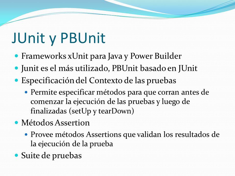 JUnit y PBUnit Frameworks xUnit para Java y Power Builder
