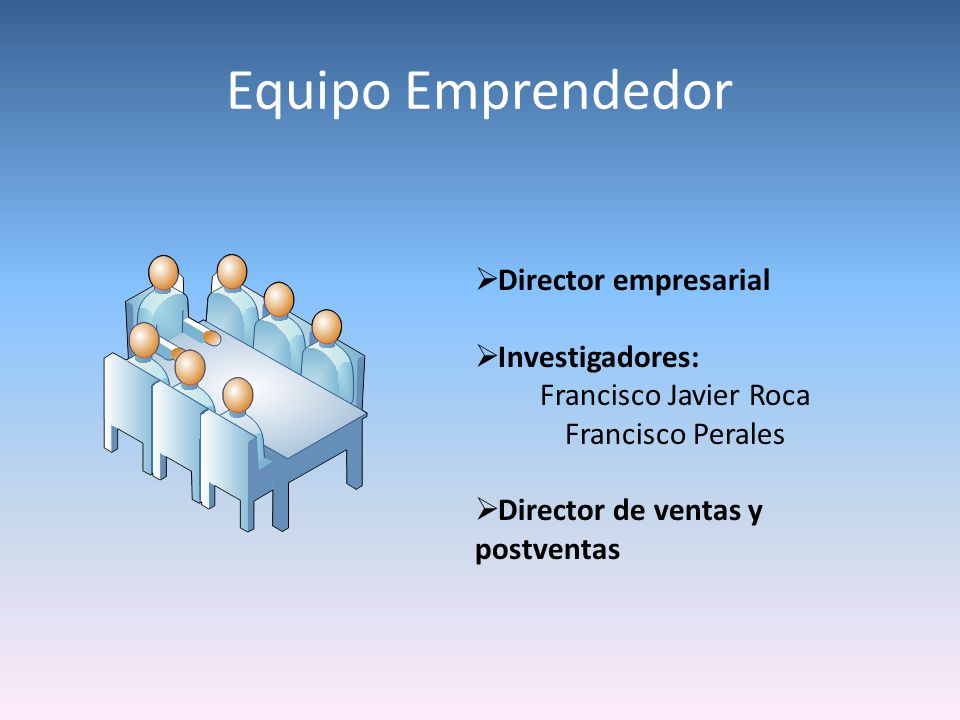 Equipo Emprendedor Director empresarial Investigadores:
