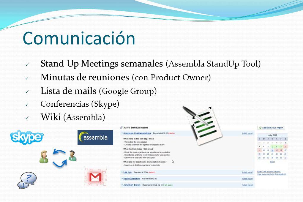 Comunicación Stand Up Meetings semanales (Assembla StandUp Tool)