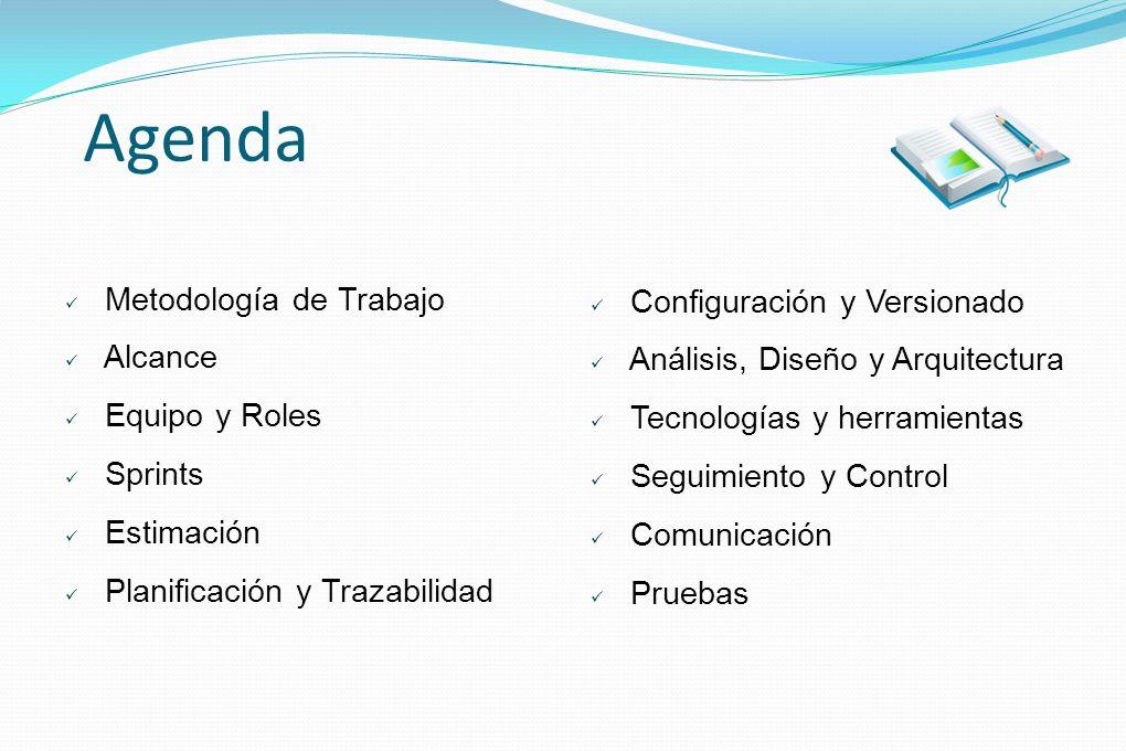 Agenda Metodología de Trabajo Alcance Equipo y Roles Sprints