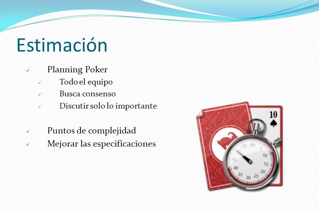Estimación Planning Poker Puntos de complejidad