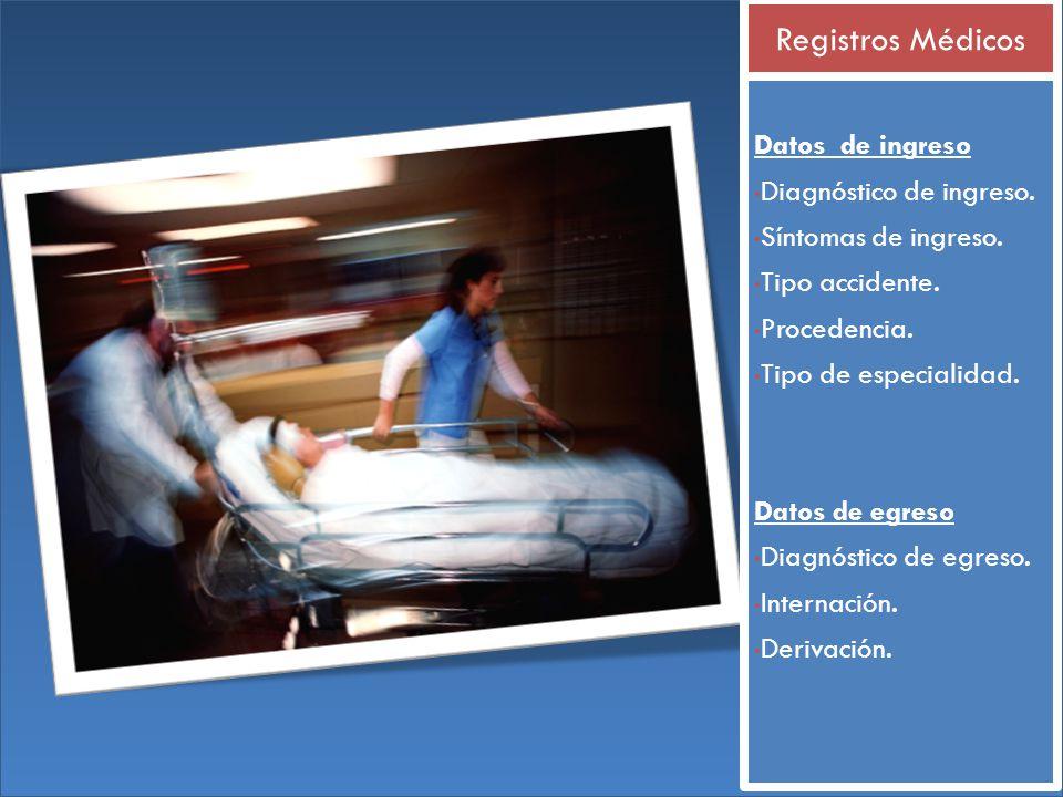 Registros Médicos Datos de ingreso Diagnóstico de ingreso.