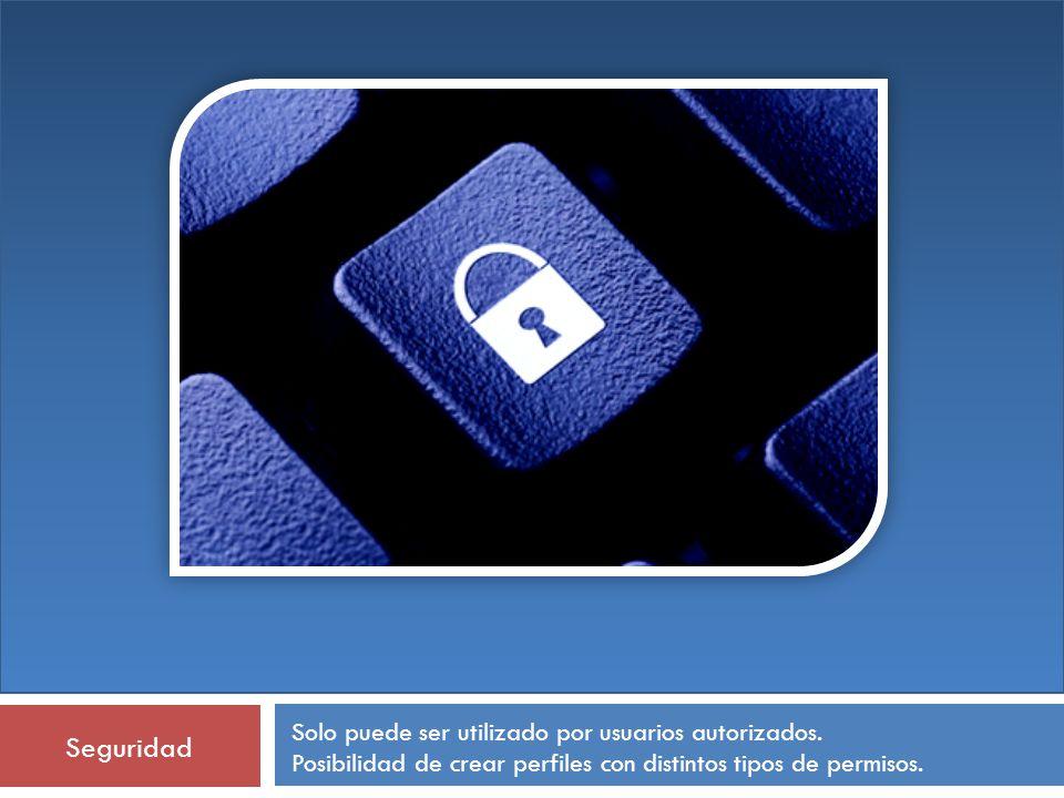 Seguridad Solo puede ser utilizado por usuarios autorizados.