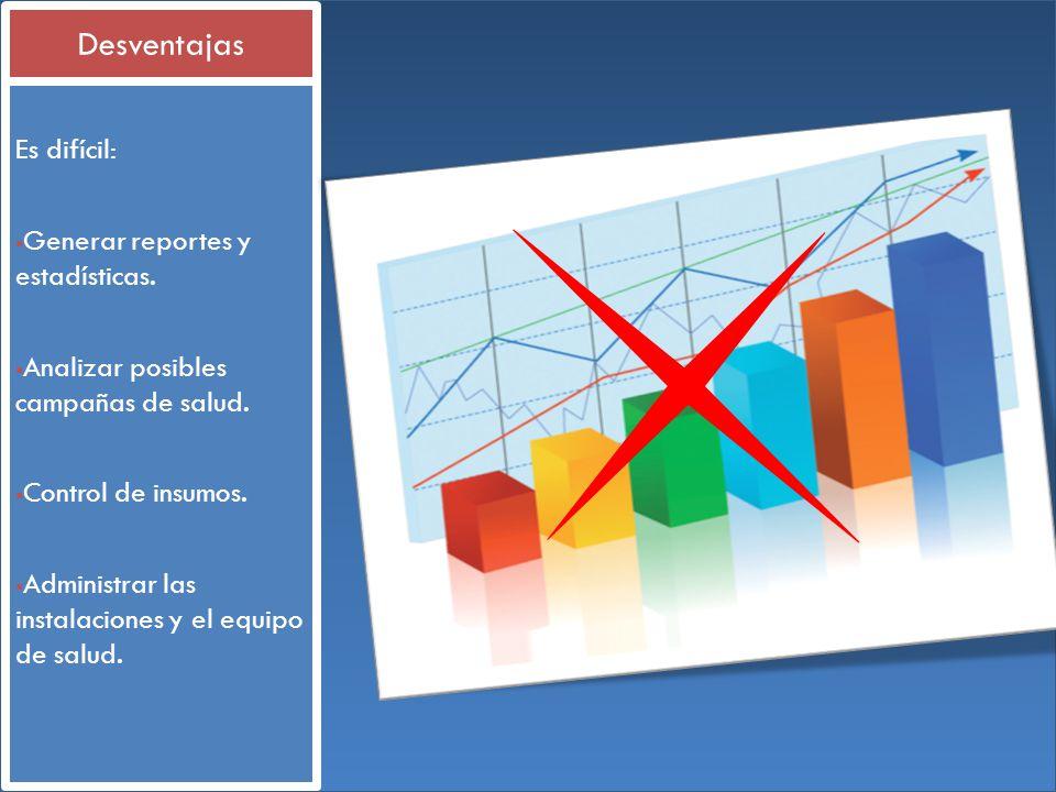 Desventajas Es difícil: Generar reportes y estadísticas.