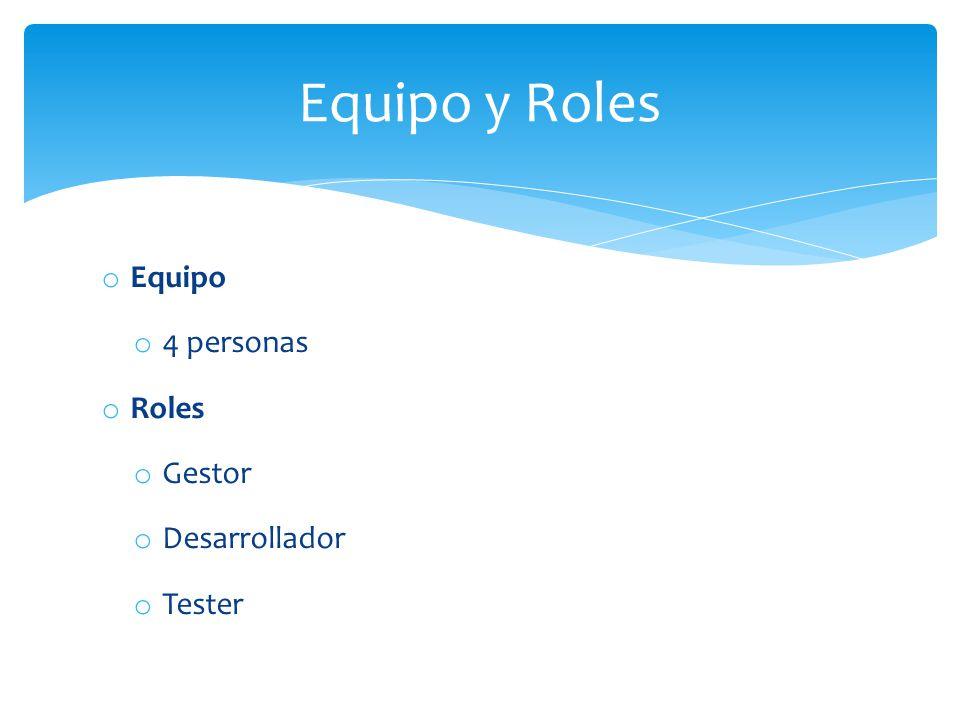 Equipo y Roles Equipo 4 personas Roles Gestor Desarrollador Tester