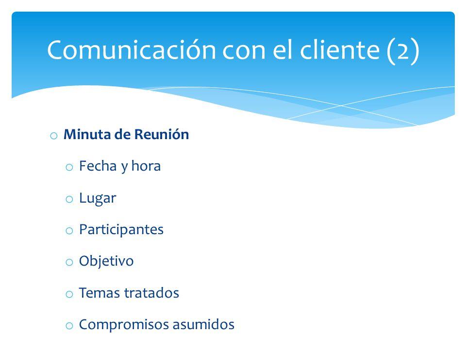 Comunicación con el cliente (2)
