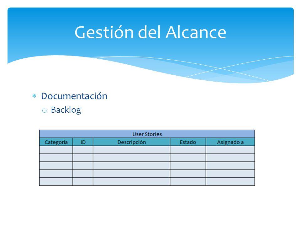 Gestión del Alcance Documentación Backlog