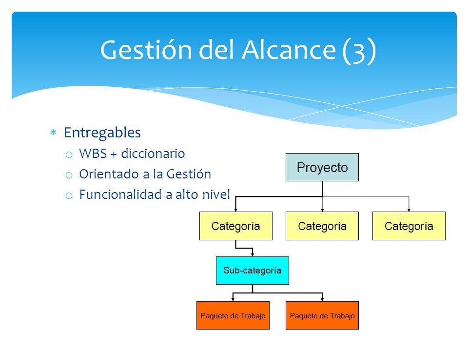 Gestión del Alcance (3) Entregables WBS + diccionario