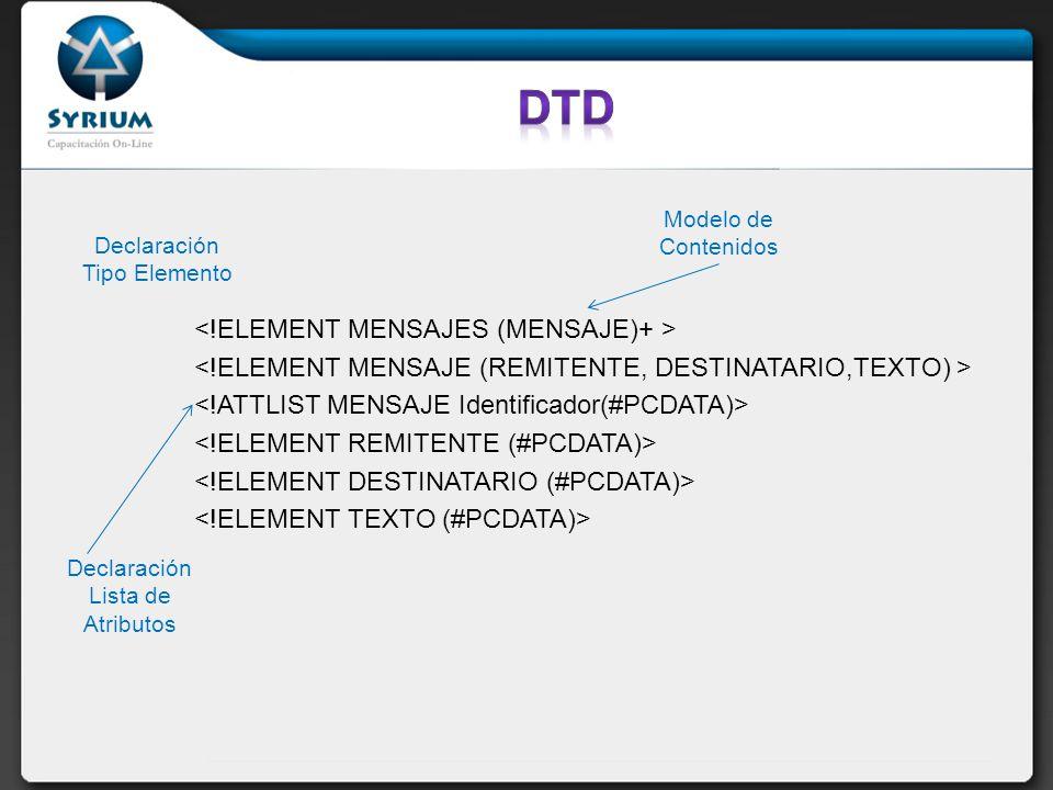 DTD <!ELEMENT MENSAJES (MENSAJE)+ >