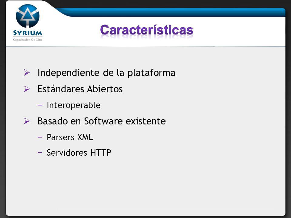 Características Independiente de la plataforma Estándares Abiertos