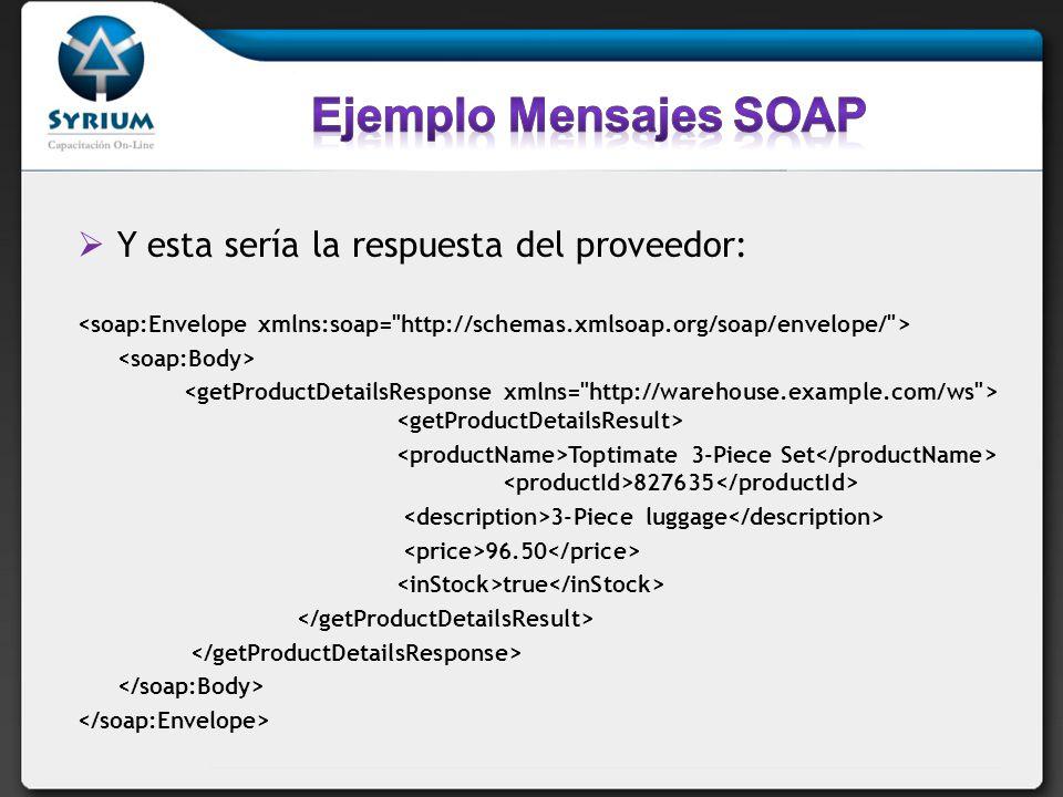 Ejemplo Mensajes SOAP Y esta sería la respuesta del proveedor: