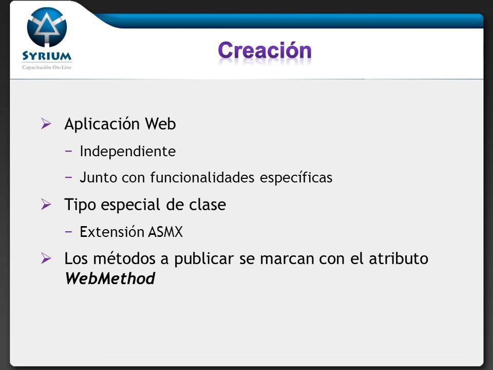 Creación Aplicación Web Tipo especial de clase
