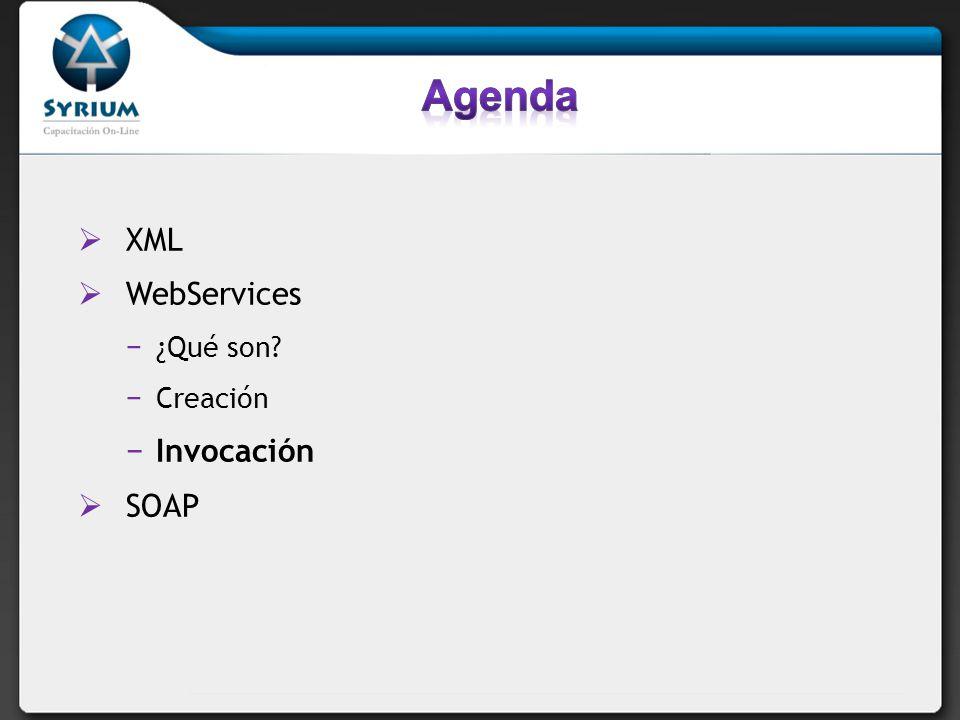 Agenda XML WebServices ¿Qué son Creación Invocación SOAP