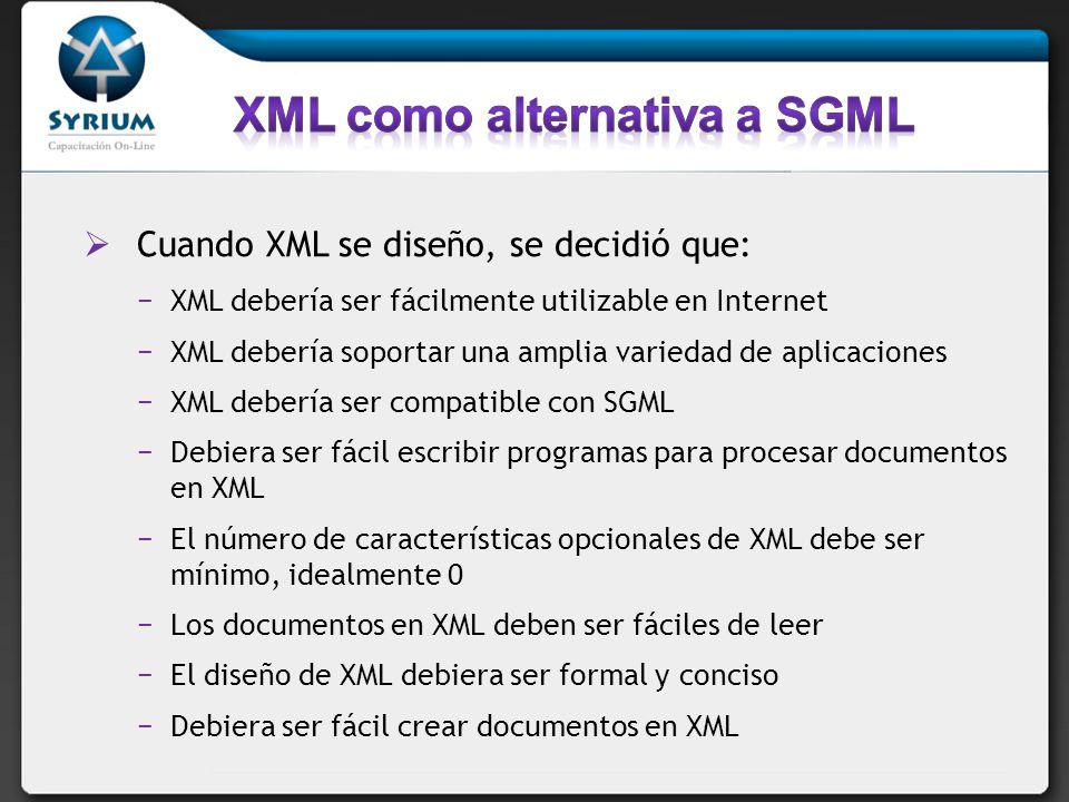 XML como alternativa a SGML
