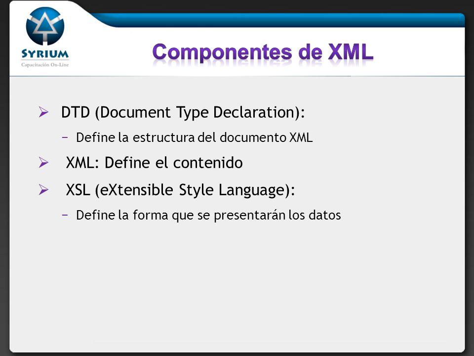 Componentes de XML DTD (Document Type Declaration):