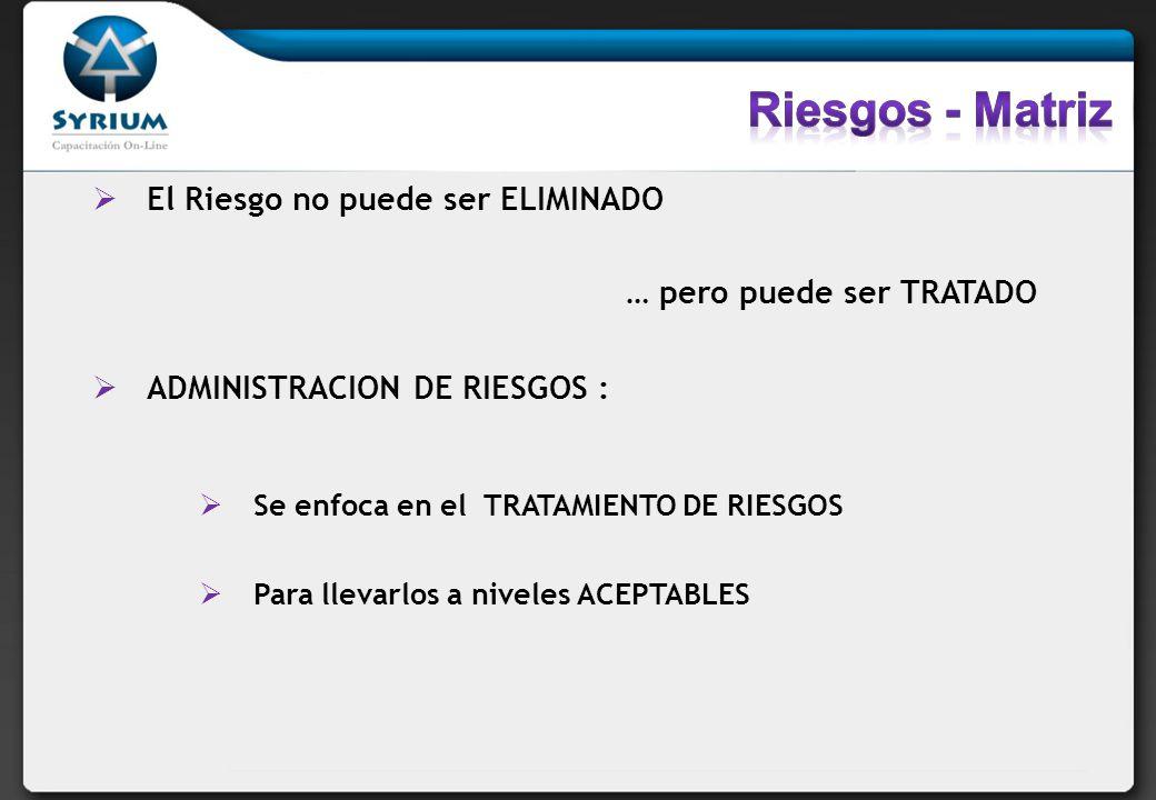 Riesgos - Matriz El Riesgo no puede ser ELIMINADO