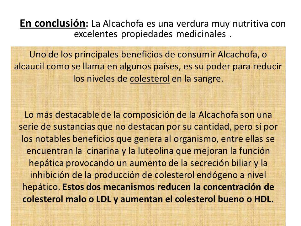 En conclusión: La Alcachofa es una verdura muy nutritiva con excelentes propiedades medicinales .