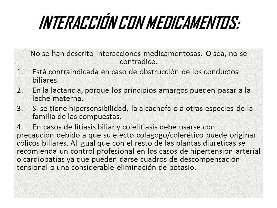 INTERACCIÓN CON MEDICAMENTOS: