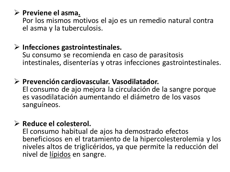 Previene el asma. Por los mismos motivos el ajo es un remedio natural contra el asma y la tuberculosis.