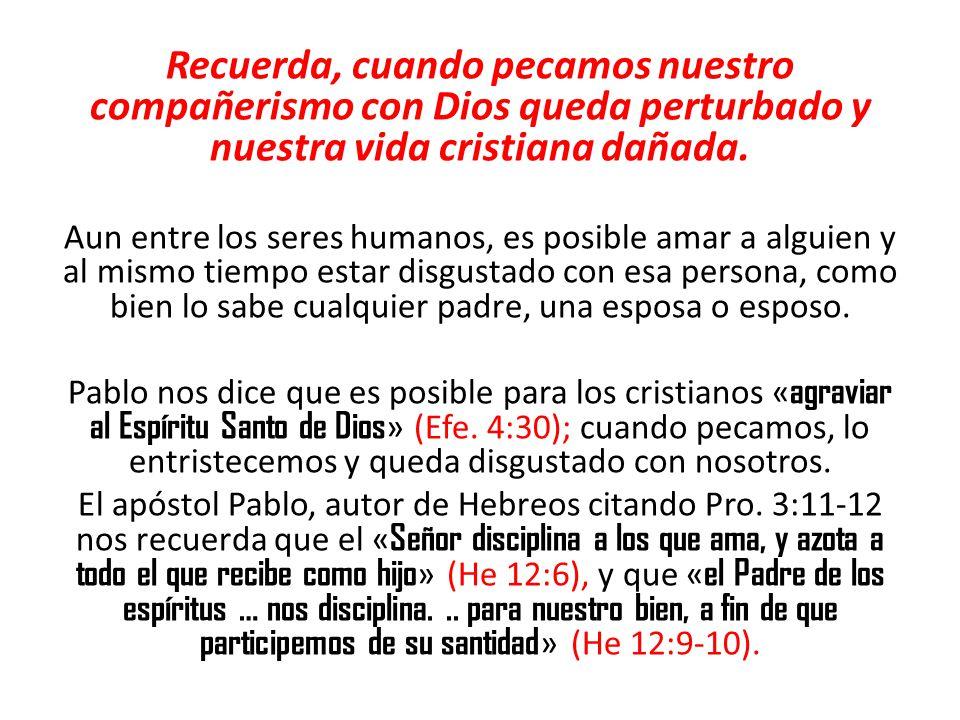 Recuerda, cuando pecamos nuestro compañerismo con Dios queda perturbado y nuestra vida cristiana dañada.