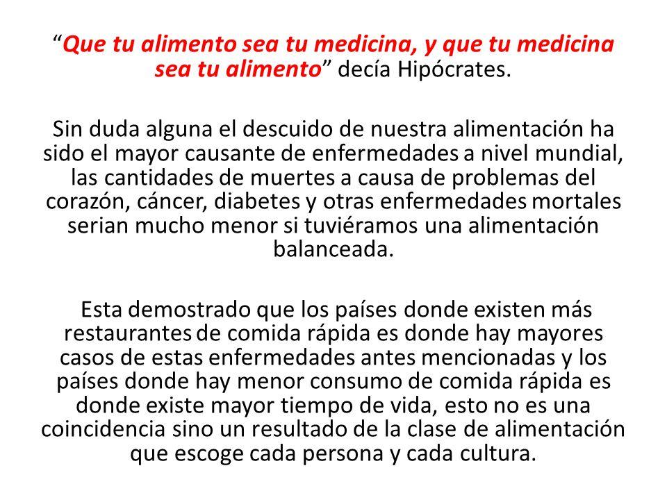 Que tu alimento sea tu medicina, y que tu medicina sea tu alimento decía Hipócrates.