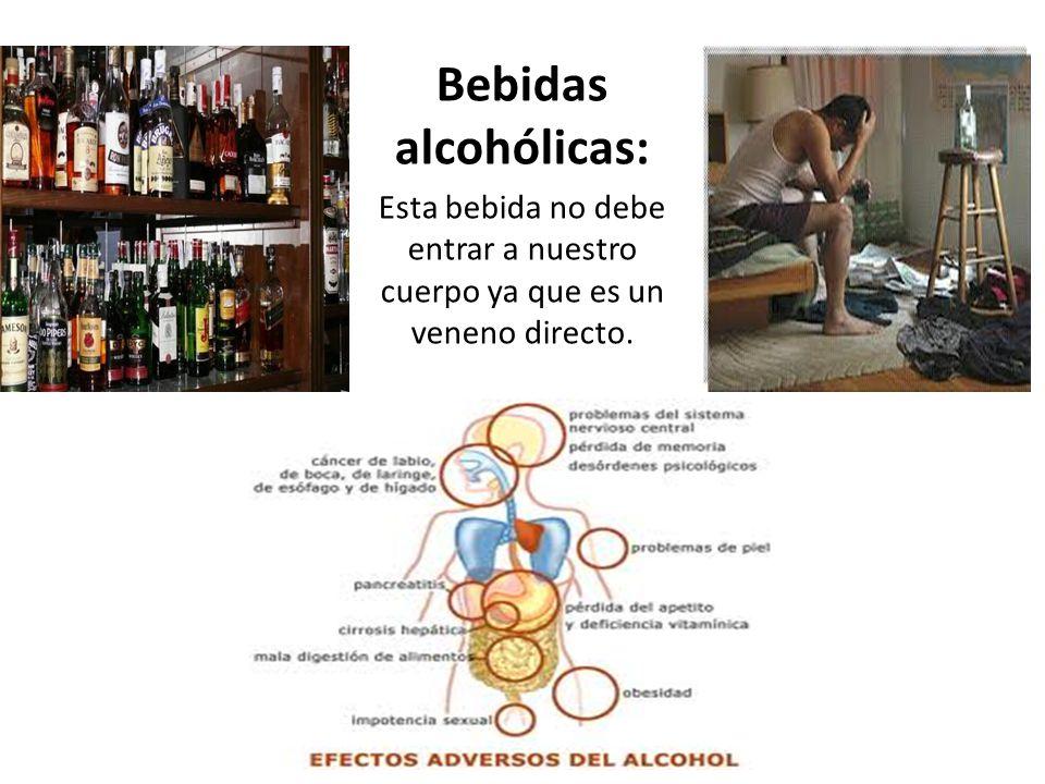 Bebidas alcohólicas: Esta bebida no debe entrar a nuestro cuerpo ya que es un veneno directo.