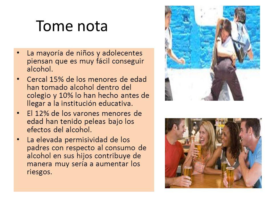 Tome nota La mayoría de niños y adolecentes piensan que es muy fácil conseguir alcohol.