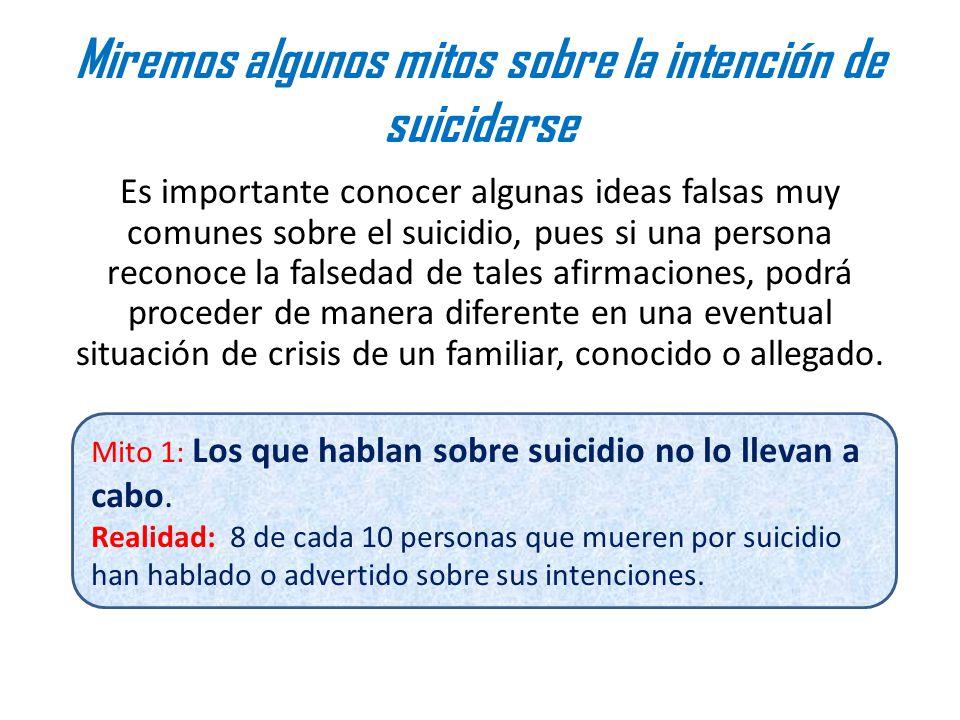 Miremos algunos mitos sobre la intención de suicidarse