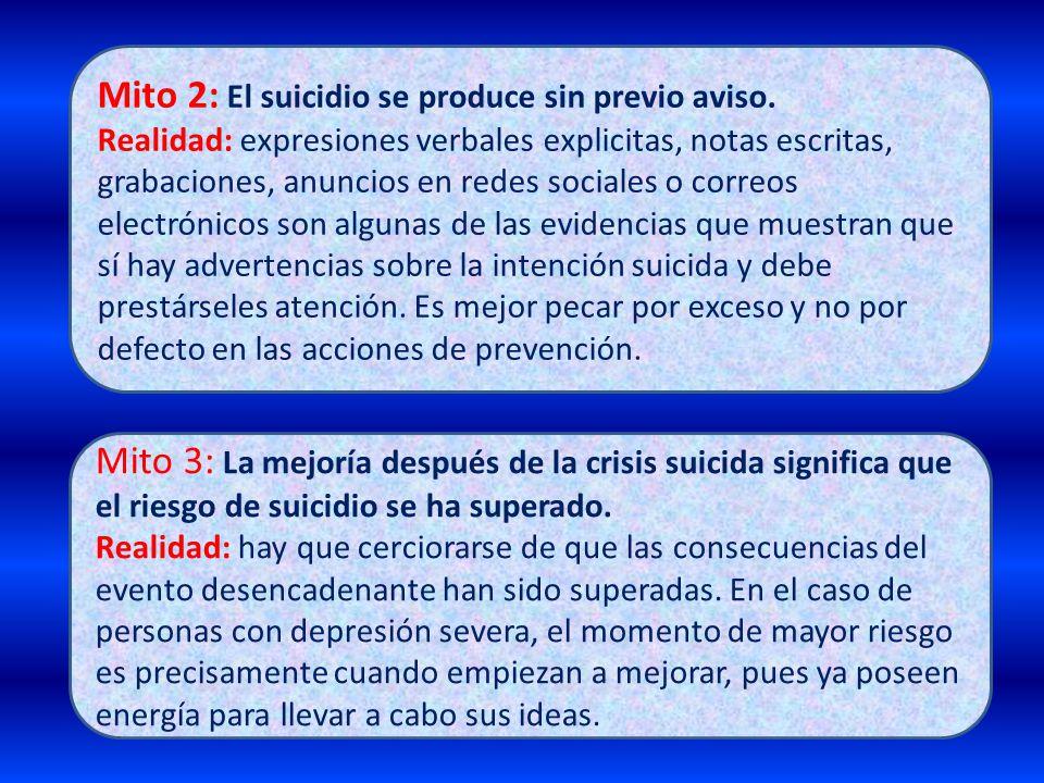 Mito 2: El suicidio se produce sin previo aviso.