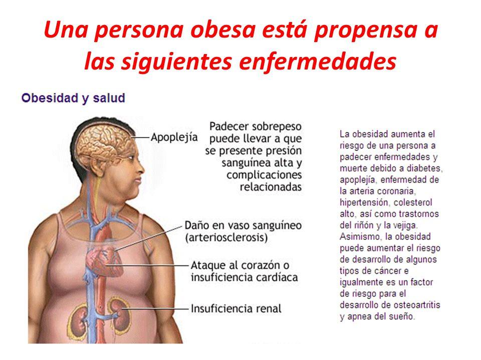 Una persona obesa está propensa a las siguientes enfermedades