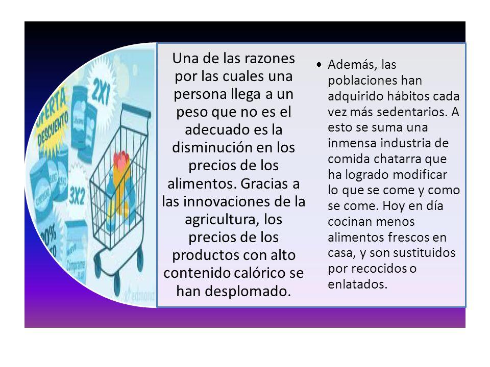 Una de las razones por las cuales una persona llega a un peso que no es el adecuado es la disminución en los precios de los alimentos. Gracias a las innovaciones de la agricultura, los precios de los productos con alto contenido calórico se han desplomado.