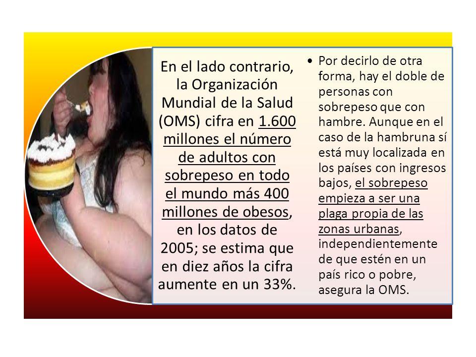 En el lado contrario, la Organización Mundial de la Salud (OMS) cifra en 1.600 millones el número de adultos con sobrepeso en todo el mundo más 400 millones de obesos, en los datos de 2005; se estima que en diez años la cifra aumente en un 33%.