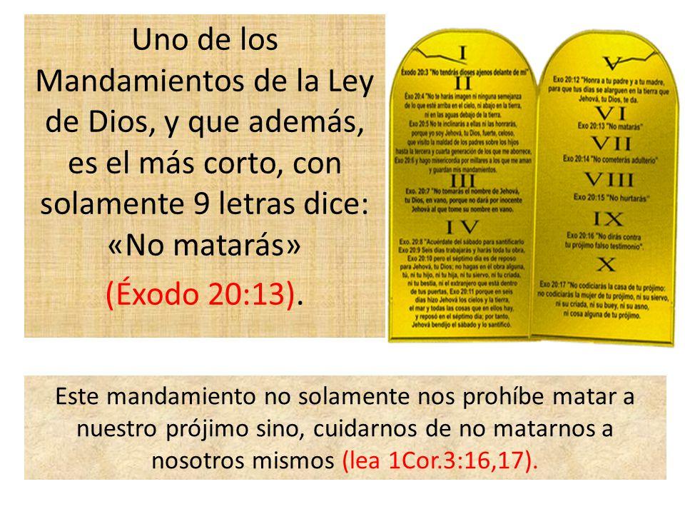 Uno de los Mandamientos de la Ley de Dios, y que además, es el más corto, con solamente 9 letras dice: «No matarás» (Éxodo 20:13).