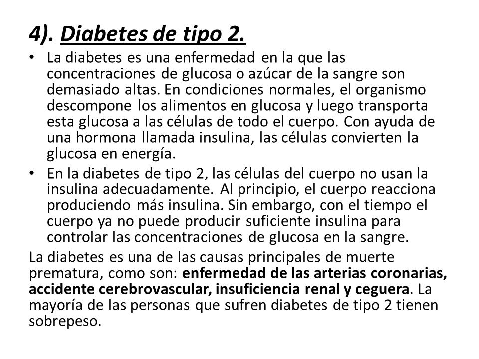4). Diabetes de tipo 2.