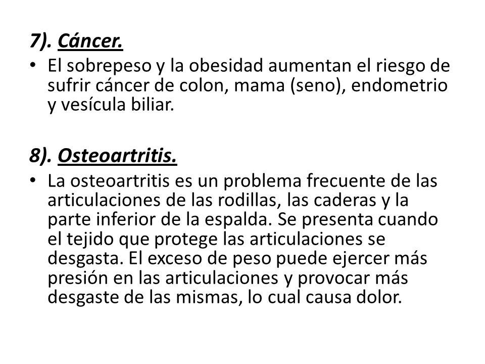 7). Cáncer. 8). Osteoartritis.