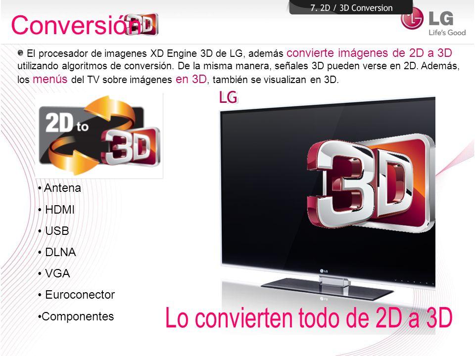 Conversión Lo convierten todo de 2D a 3D Antena HDMI USB DLNA VGA