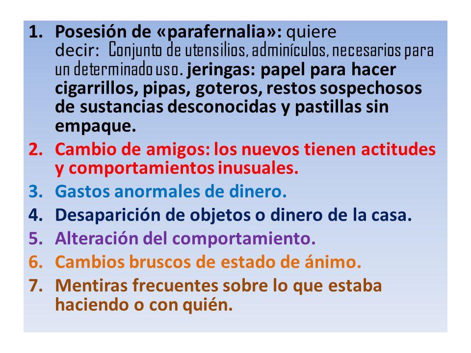 Posesión de «parafernalia»: quiere decir: Conjunto de utensilios, adminículos, necesarios para un determinado uso. jeringas: papel para hacer cigarrillos, pipas, goteros, restos sospechosos de sustancias desconocidas y pastillas sin empaque.