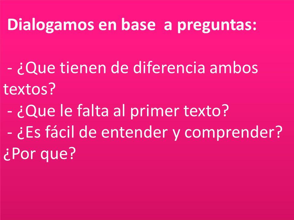 Dialogamos en base a preguntas: - ¿Que tienen de diferencia ambos textos.