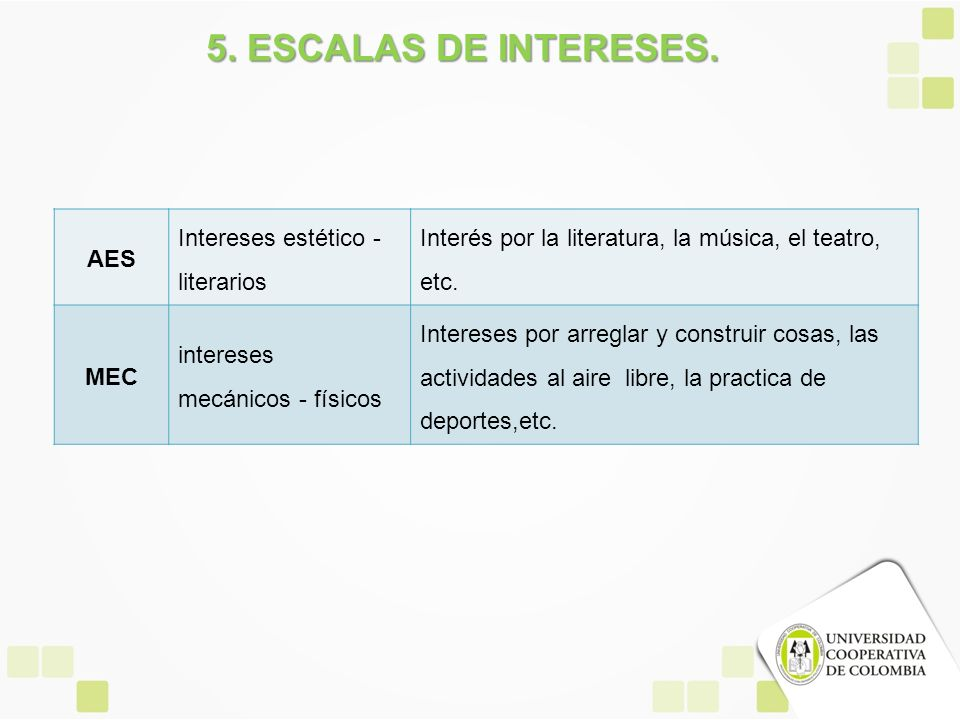 5. ESCALAS DE INTERESES. AES Intereses estético - literarios
