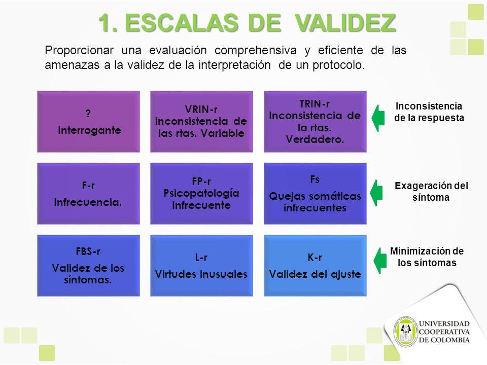 1. ESCALAS DE VALIDEZ Proporcionar una evaluación comprehensiva y eficiente de las amenazas a la validez de la interpretación de un protocolo.